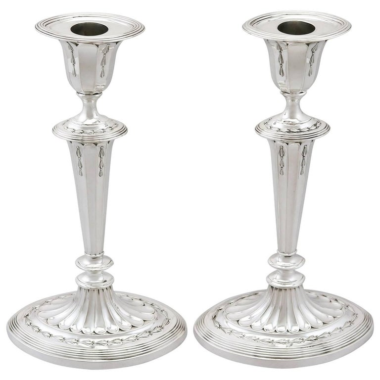 1890s Antique Sterling Silver Candlesticks by James Dixon & Sons