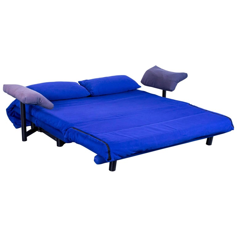 Ligne Roset Multy Fabric Sleeping Sofa Blue Two Seat Couch Rest Function