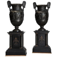 Pair of 19th Century Grand Tour Style Bronze 'Townley Vases' on Slate Plinths