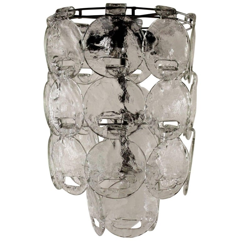 Ceiling Lamp Metal Blown Glass Vintage Manufactured in Italy, 1960s