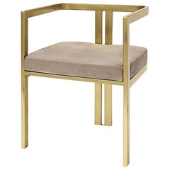 Linkin  Armchair in Satinated Gold Finish with Velvet Seat