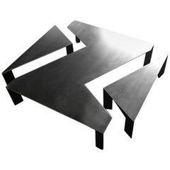 Z Coffee Table in Raw Steel Hand-Crafted