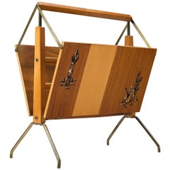 Foldable Magazine Rack Made of Wood and Brass