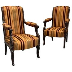 Pair of Fine Quality 19th Century French Empire Style Open Armchairs