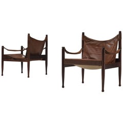 Erik Wørts Set of Two Safari Lounge Chairs in Rosewood and Brown Leather