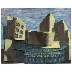 """""""La cinematheque Française"""" Oil on Canvas with Relief, circa 1950, Signed TH"""