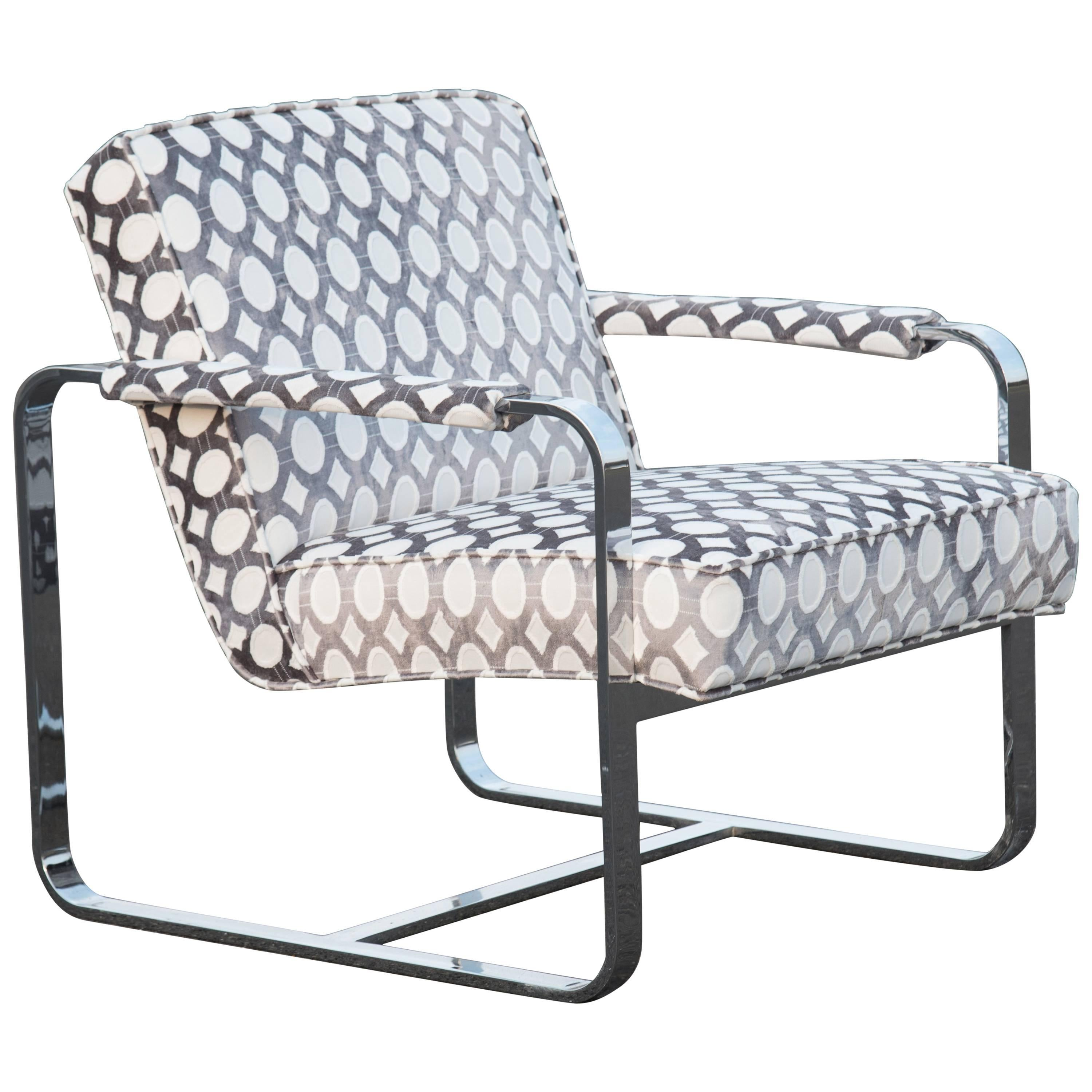 Sassy Mid-Century Modern Steel and Upholstered Club Chair