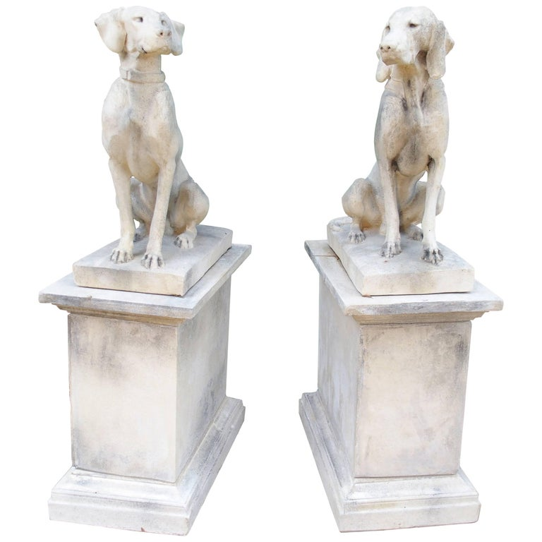 Pair of Cast Stone Pointers on Pedestals