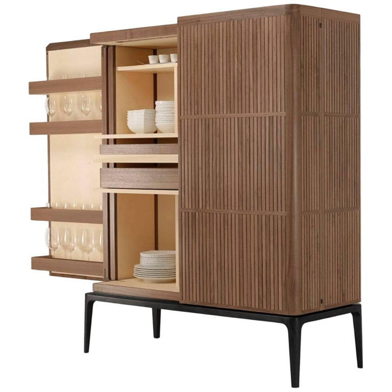 Never Full High Bar Cabinet in American Walnut with LED Lighting by Ceccotti
