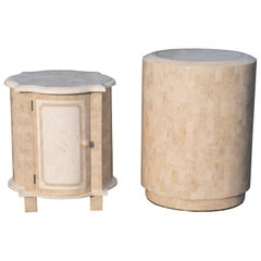 Elegant Pair of Maitland-Smith Tessellated Stone End Tables Nightstands