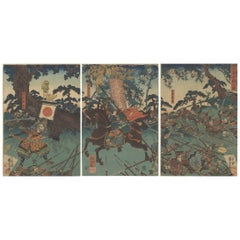Utagawa Kuniyoshi, Warrior, Battle, History, Japanese Woodblock Print