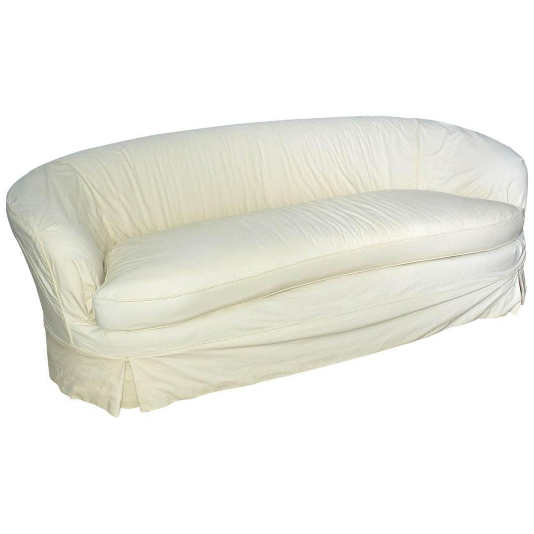 Slipcovered Curved Sofa