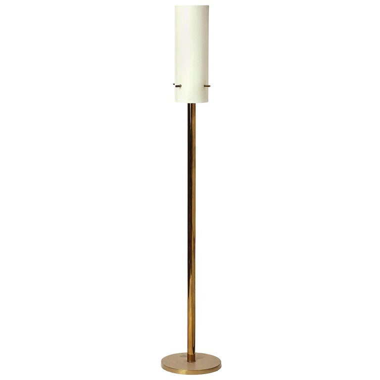1960s Italian Cylindrical Brass Torchiere Floor Lamp Attributed to Arteluce For Sale