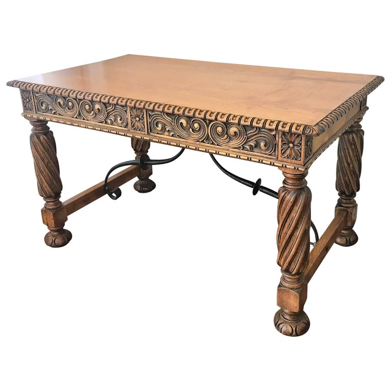 19th Century Pine and Wrought Iron Desk with Three Drawers with Turning Legs