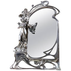 Art Nouveau Pewter Dressing Mirror Attributed to WMF