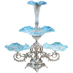 A Silver Plate and Glass Epergne Centrepiece