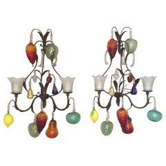 Pair of Italian Decorative Fruits Murano Glass Wall Lamps, 1980s