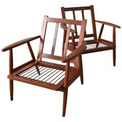 Pair of Danish Midcentury Teak Lounge Chairs, 1950s