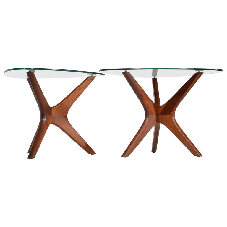 """Pair of Adrian Pearsall Walnut """"Jacks"""" End Tables For Sale"""