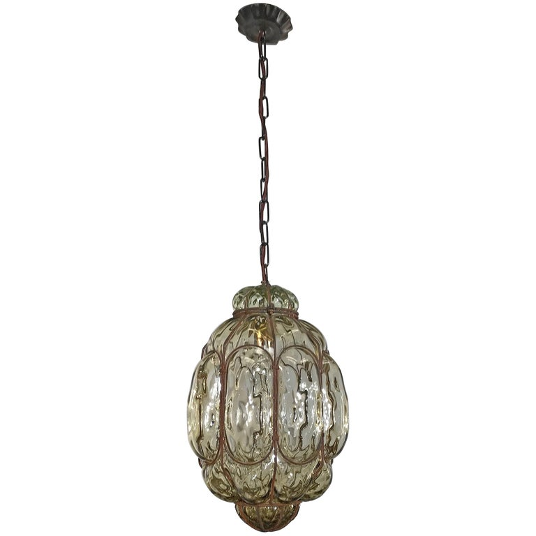 Vintage Venetian Mouth Blown Glass in Metal Frame Pendant Light / Fixture For Sale