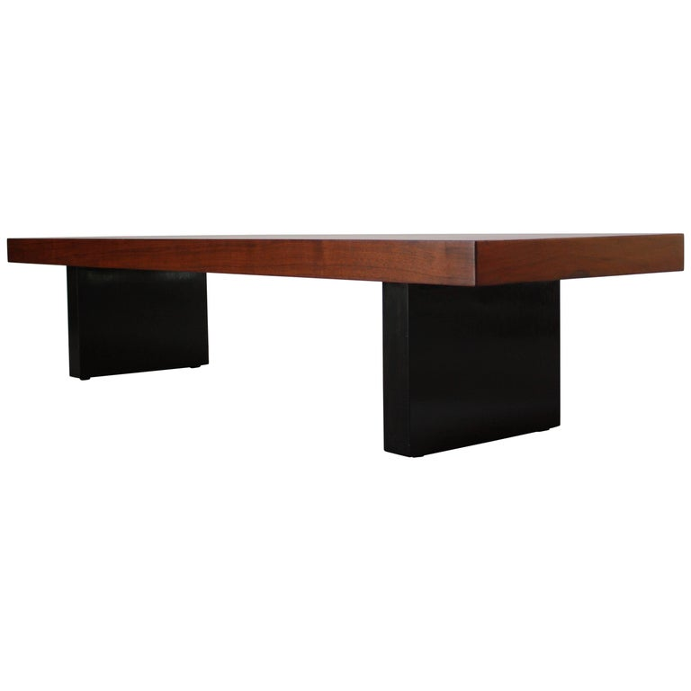 Harvey Probber Walnut Bench with Ebonized Plinth Base