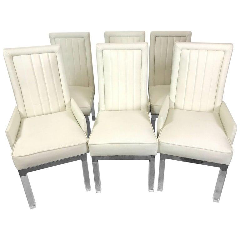 Six Charles Hollis Jones Lucite Dining Chairs