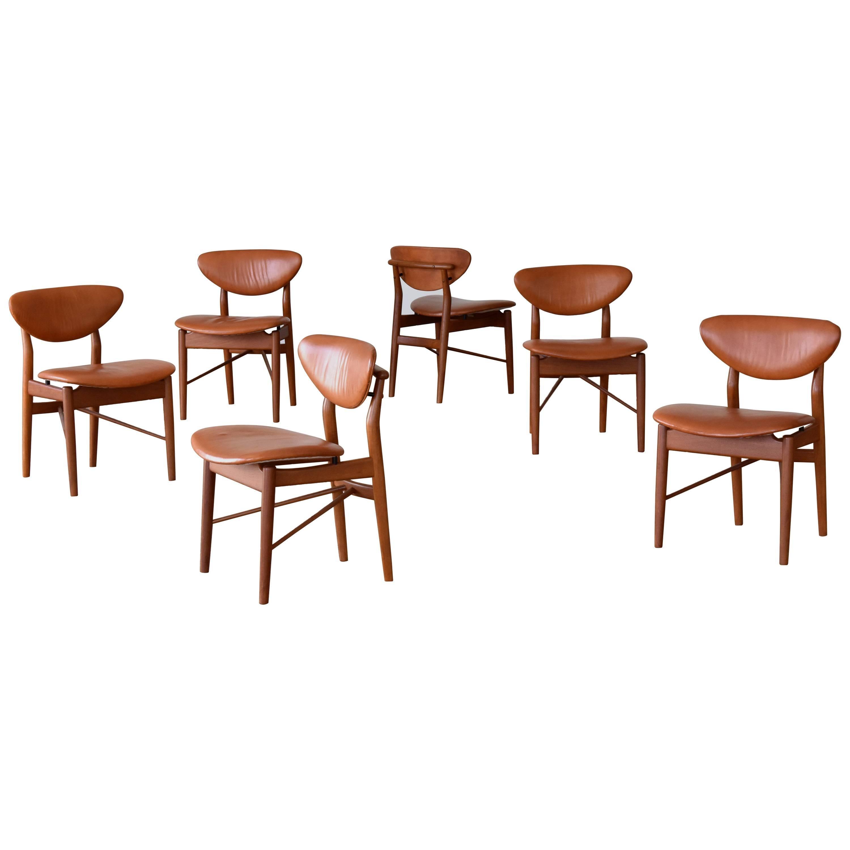 Finn Juhl, 6 NV-55 Dining Chairs, Teak, Brown Leather, Niels Vodder, 1955 Danish