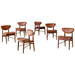 Finn Juhl, 6 NV-55 Dining Chairs, Teak, Brown Leather, Niels Vodder, 1955 Danish