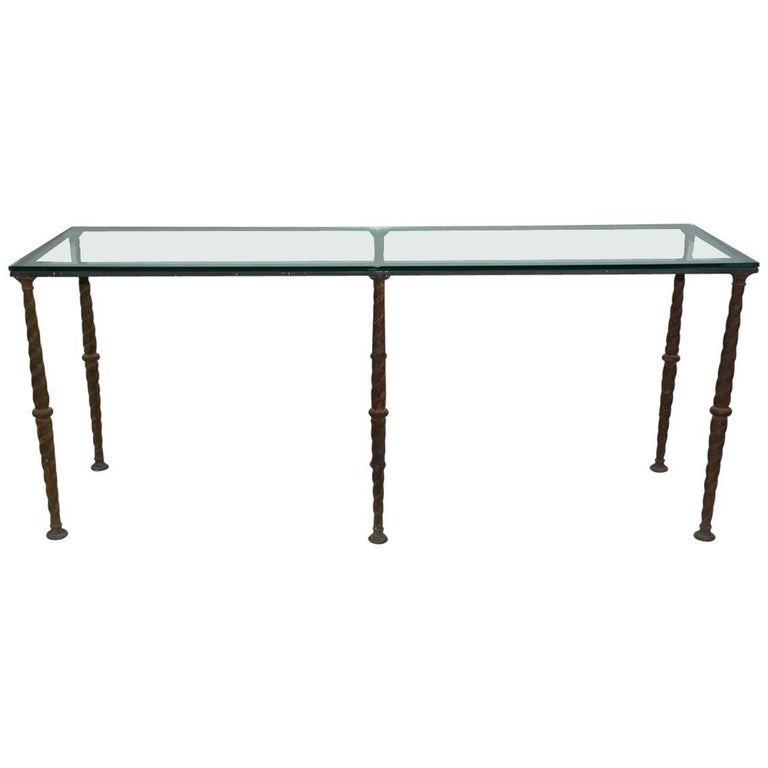 Antique Industrial Metal Base Console Table or Desk For Sale