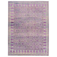 21st Century Modern Silver and Purple Khotan-Style Carpet