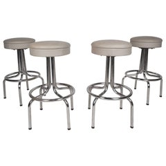 Set of Four Mid-Century Modern Swivel Bar Stools