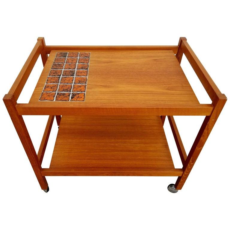 Teak and Tile Bar Cart