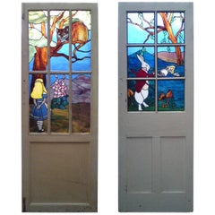 Alice in Wonderland, an Art Deco Suite of Stained & Leaded Glass Doors & Windows