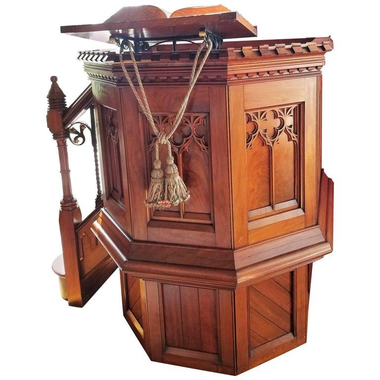 English Walnut, Mahogany and Iron Podium or Pulpit, Late 19th Century