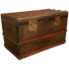 Vintage Brass and Bound Canvas Travel Steamer Trunk