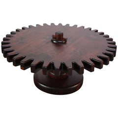 Rustic 'Cog' Swiveling Coffee Table in Stained Pine