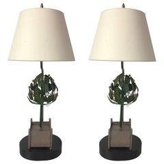 Pair of Tole Orange Tree Topiary Lamps
