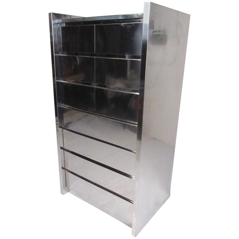 Tall Chest of Drawers in Chrome Finish by Thayer Coggin