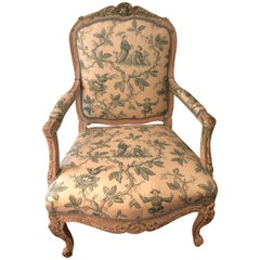 Stately Louis XVI Style Chinoiserie Upholstered Armchair