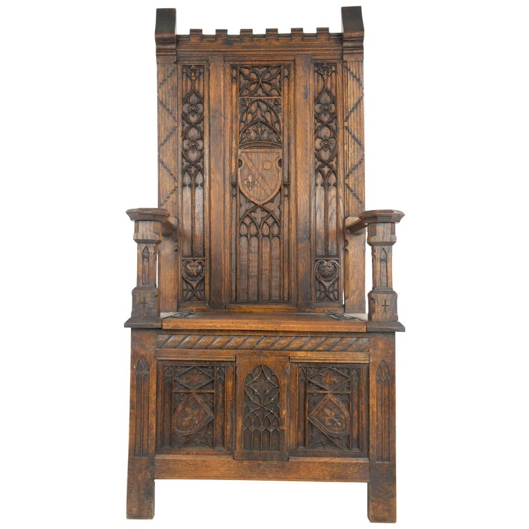 Antique Hall Chair, Carved Oak Bench, Gothic Chair, France, 1890 For Sale - Antique Hall Chair, Carved Oak Bench, Gothic Chair, France, 1890 At