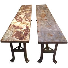 Long Steel Industrial Benches