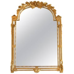 19th Century Louis XVI Style Gilded Mirror, Carved Details of Roses, Acanthus