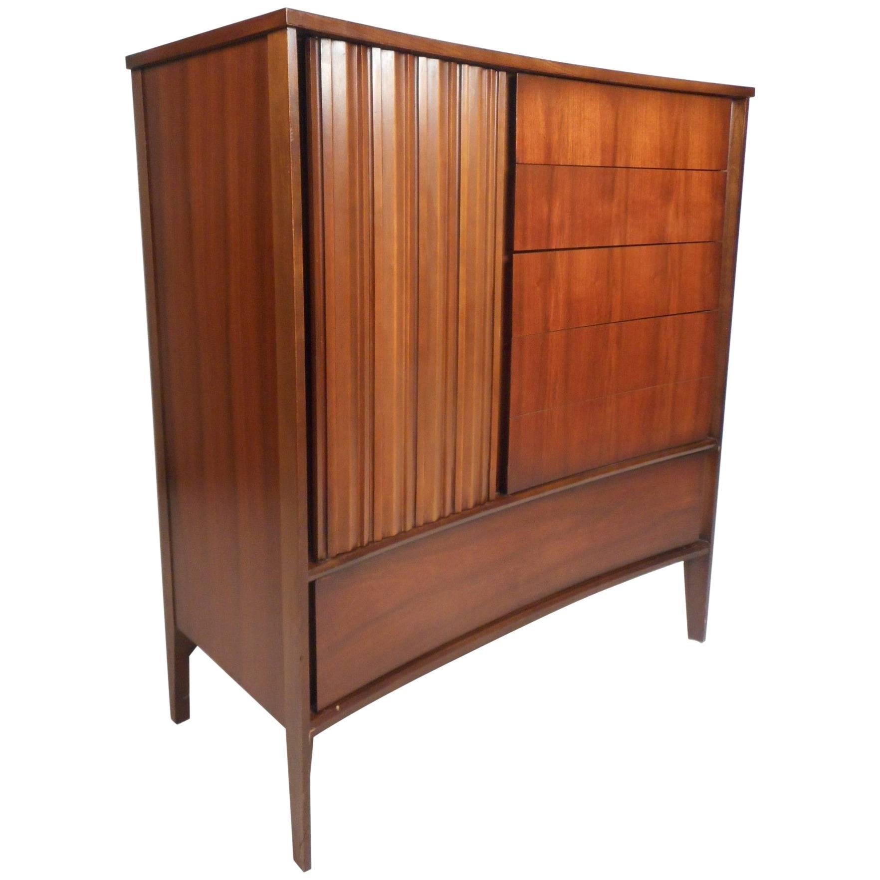 Mid-Century Modern Walnut Curved Front Highboy Dresser