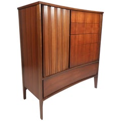 Mid-Century Modern Walnut Curved Front Highboy Dresser