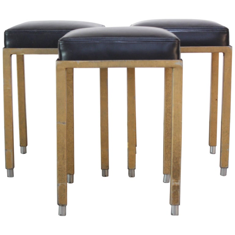Set of Three Midcentury Industrial Leather and Painted Steel Stools