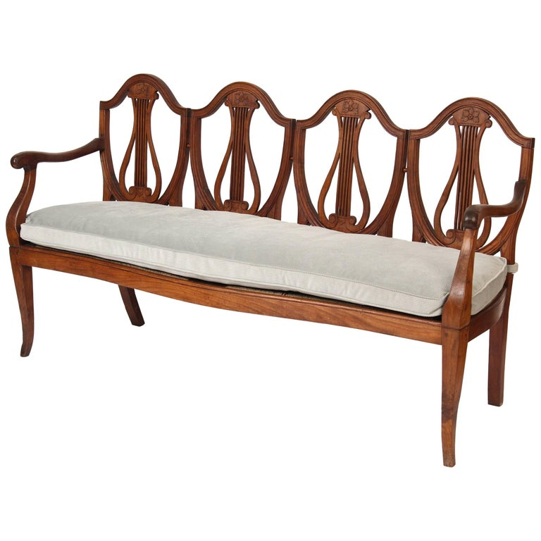 Continental Neoclassical Fruit Wood Settee