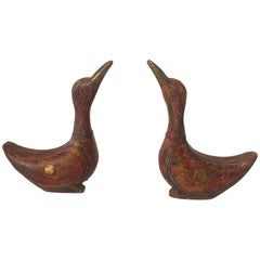Pair of Whimsical Distressed Painted Wooden Ducks by Maitland Smith