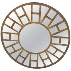 Stylish Mid-Century Modern Round Mirror with Brass Overlay