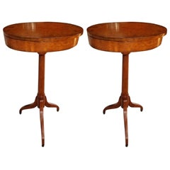 Pair of Candle Stands with Open Top in Burl Walnut, Late 19th-Early 20th Century