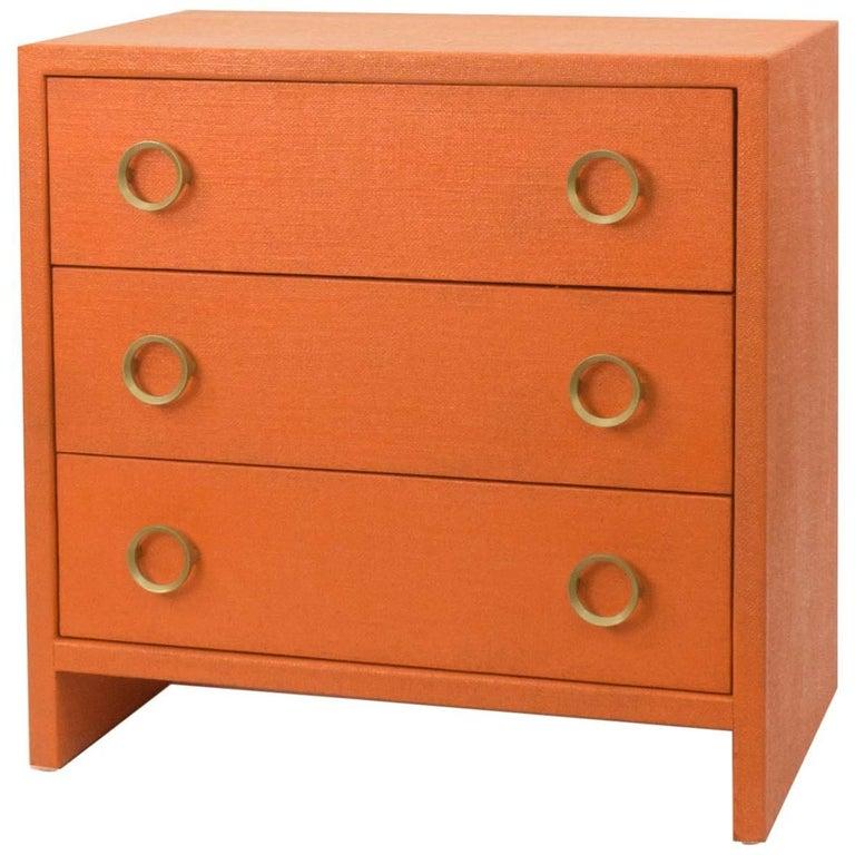 Three-Drawer Dresser, Burlap Wrapped, High Gloss